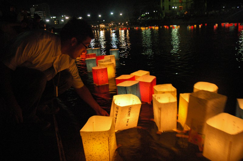 Floating of Paper Lanterns on the Motoyasu River in Hiroshima