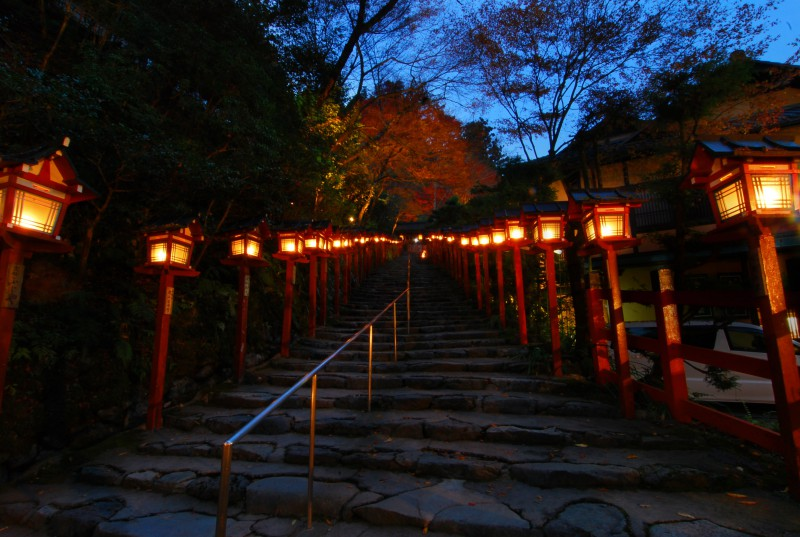 Lanterns lighting the path to Kibune Shrine, Kyoto