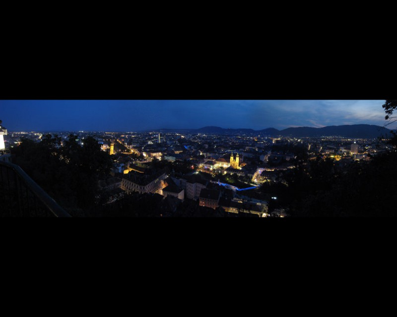 Panarama of Graz nighttime