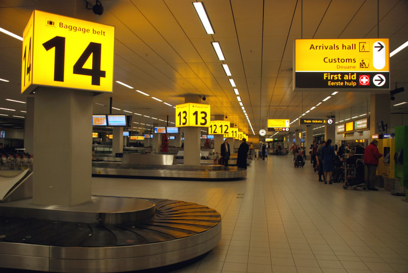 The signage at Schiphol Airport
