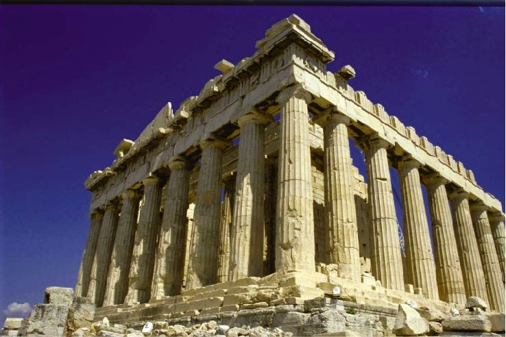 the Parthenon stands surrounded by Doric columns.