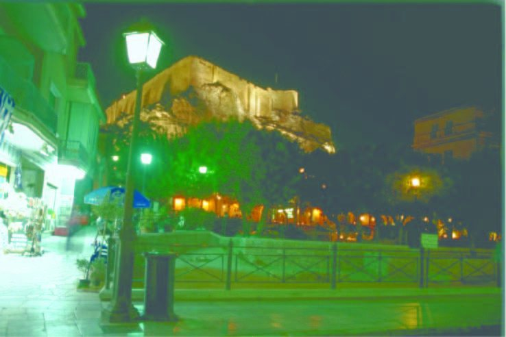 An illuminated Parthenon as viewed from the historic district of Plaka