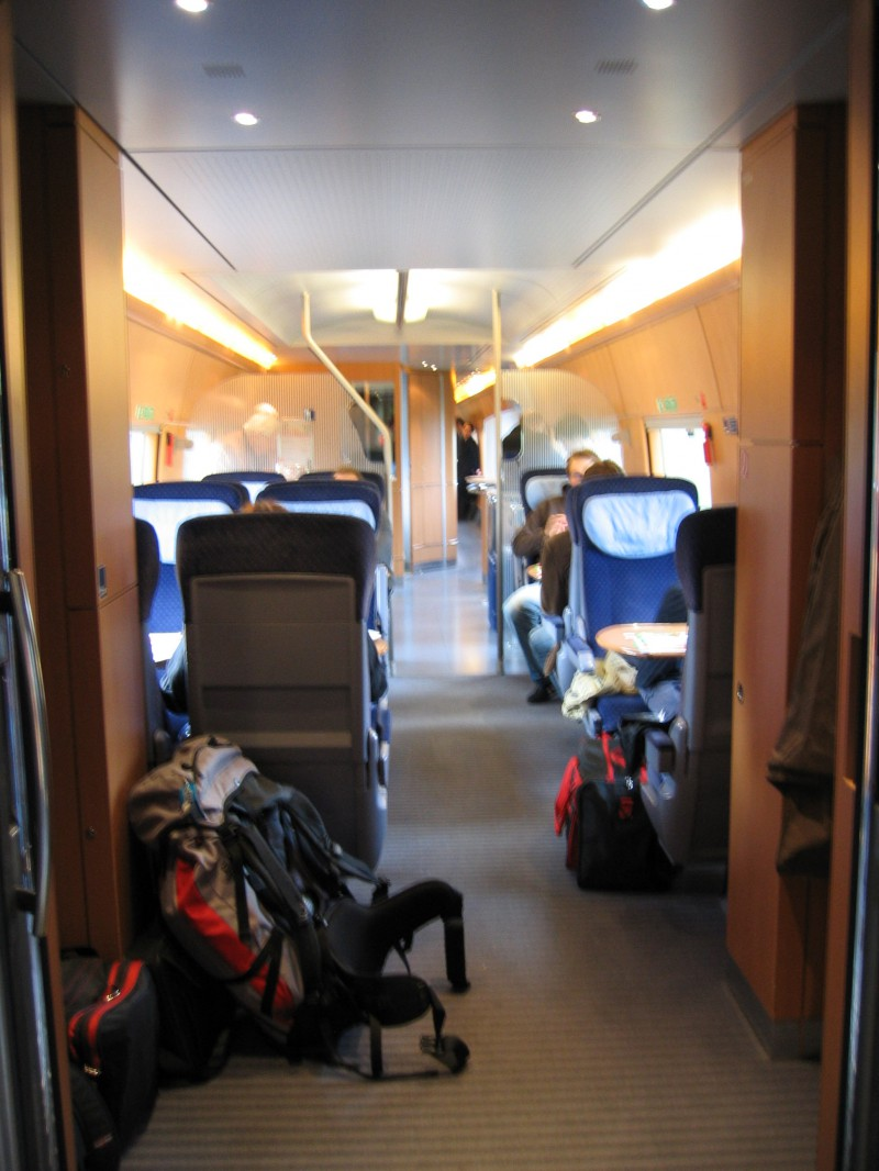 Inside the ICE train car