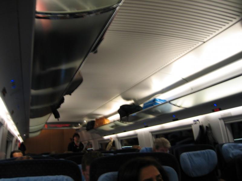 Inside the ICE train car