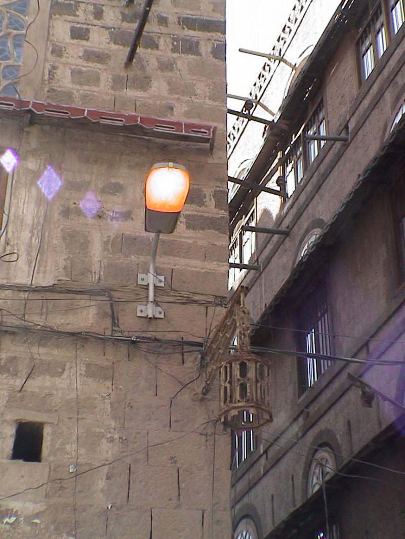 Street lights in Sanaa