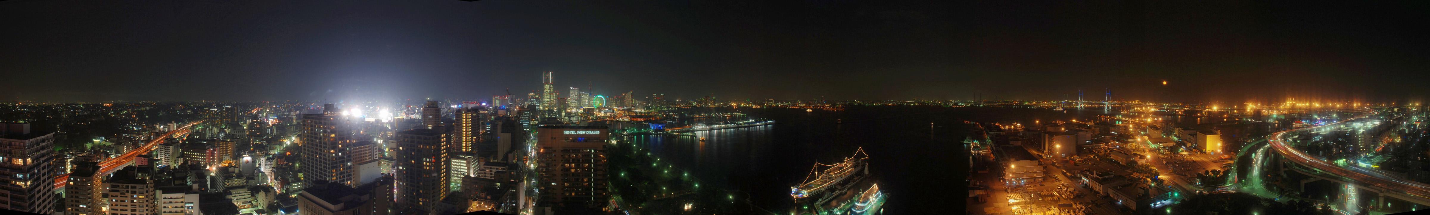 Panaramic view of Yokohama nightscape.