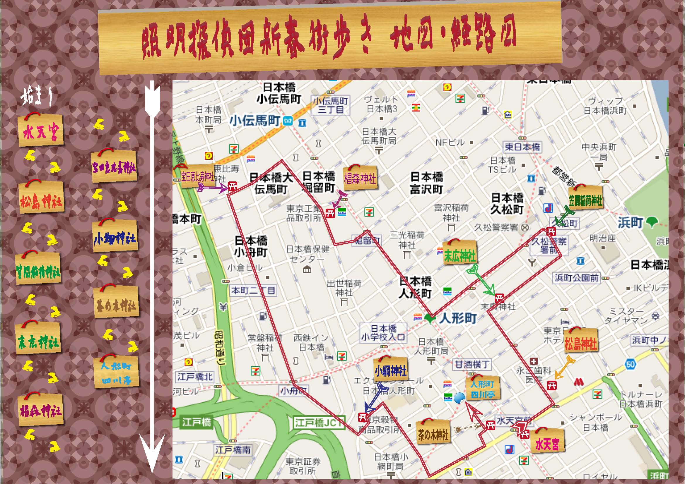 The Seven Gods of Good Fortune City Walk Route
