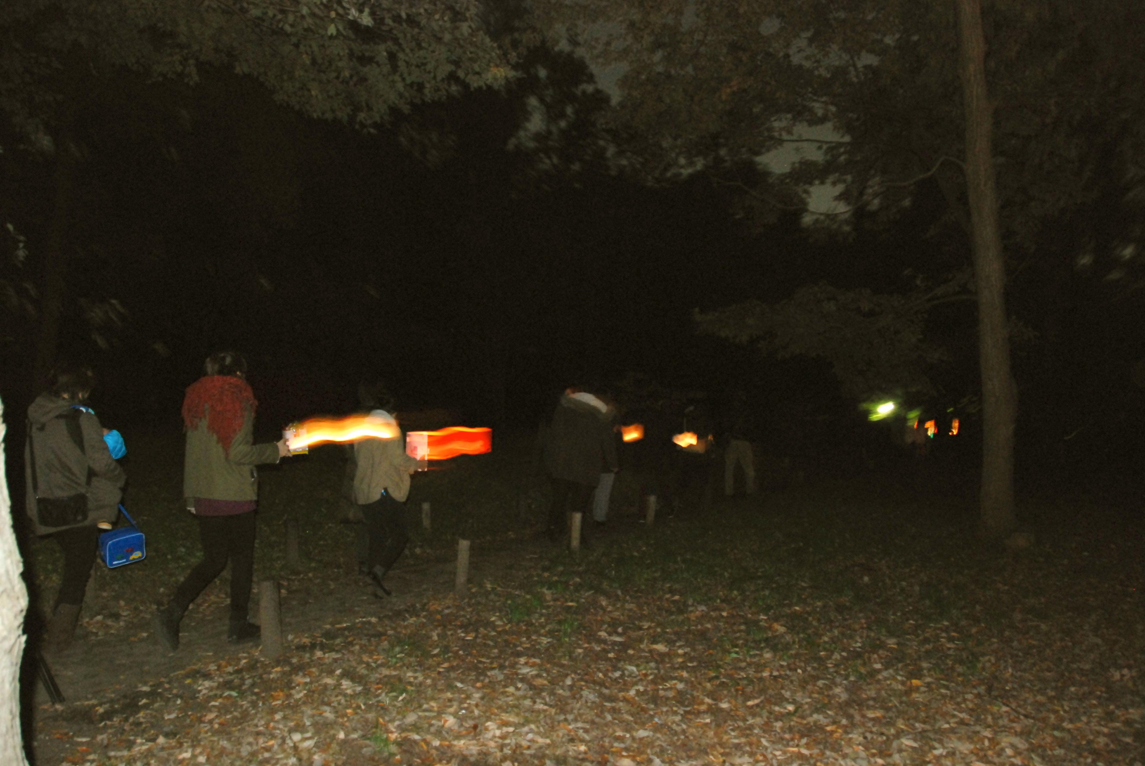 暗い林を5人づつのグループに分かれて、間をあけて進みます