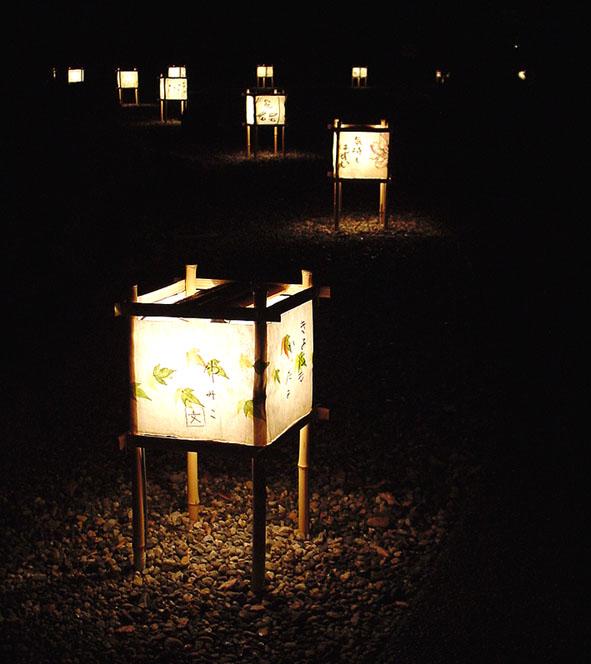 13.相楽園夜間ライトアップ、和紙の部分は絵手紙