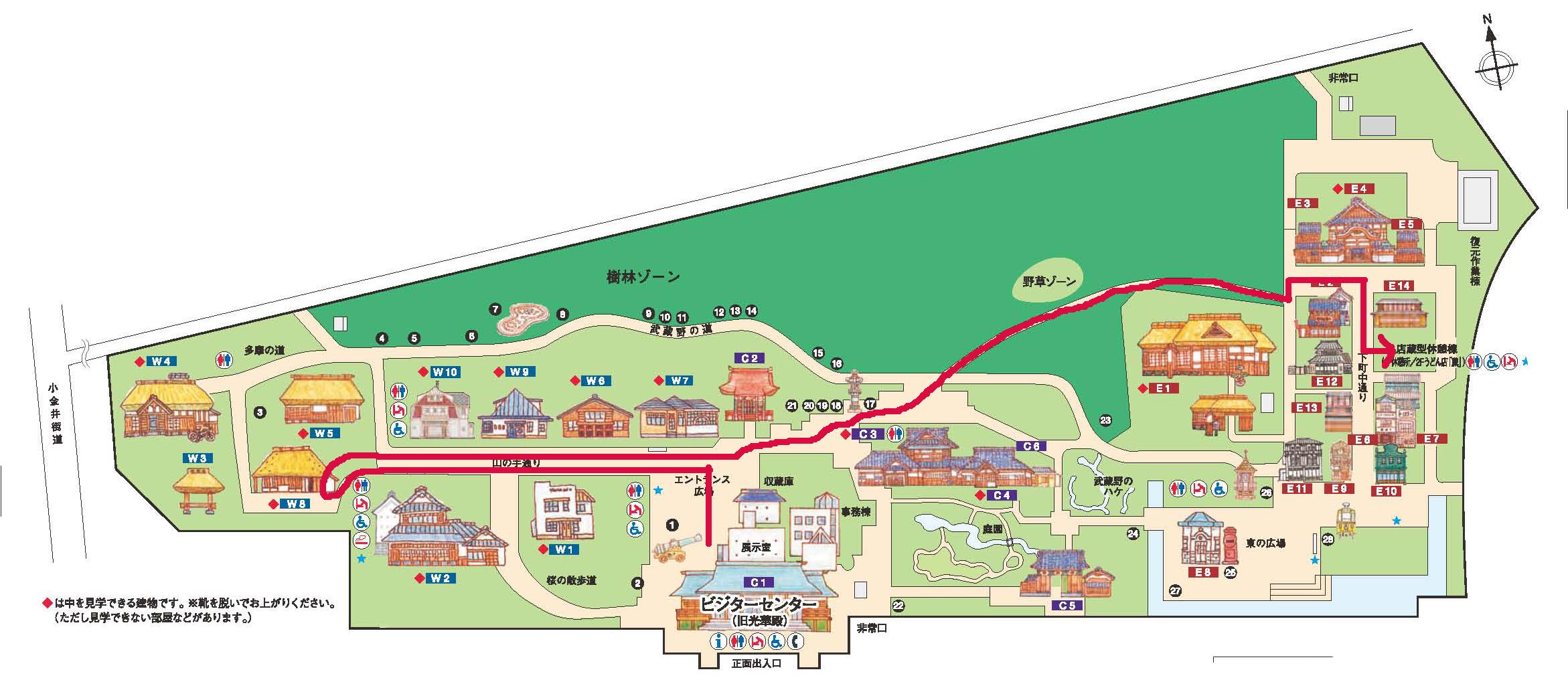 江戸東京たてもの園園内MAPとパレードのルート