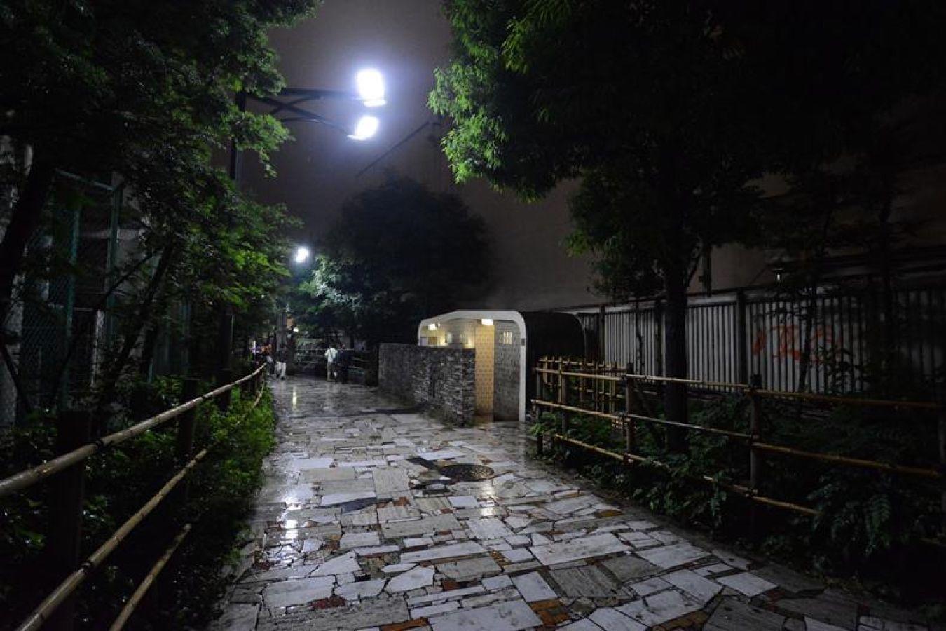 犯罪者:LEDの街灯・・寂しい夜道を明るくするためか??でもちょっとグレアが強い。