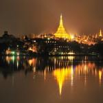 140627_ヤンゴン_カンドジー湖に映るシェダゴンパゴダ_パゴダだらけ