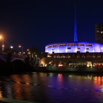 Color lightings of Hamer Hall and Melbourne Arts Center _mini