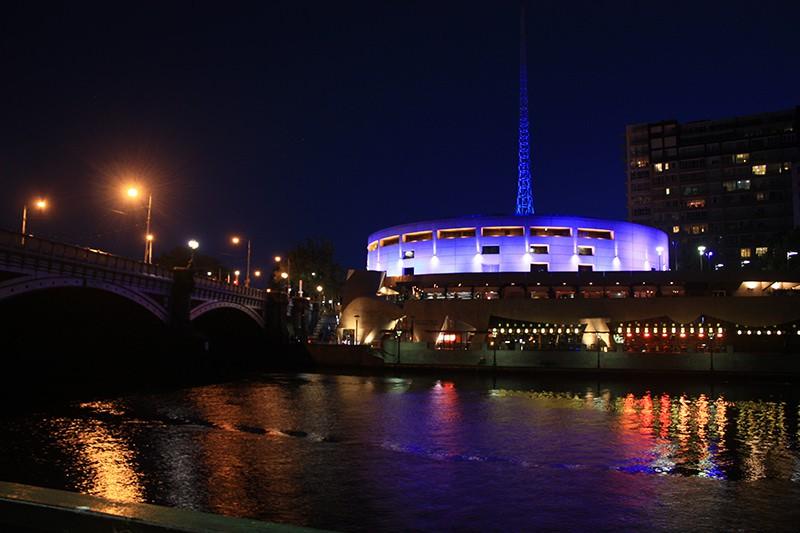 Color lightings of Hamer Hall and Melbourne Arts Center