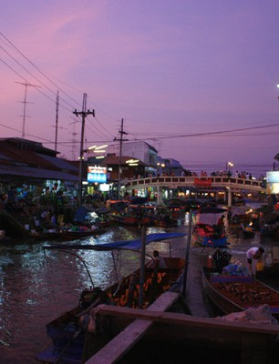 Reflections on the river of Amphawa floating market_1