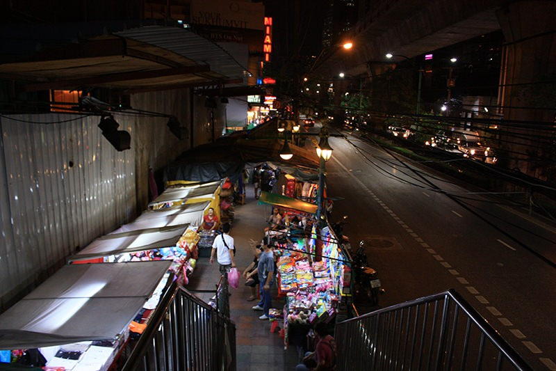 Sidewalk filled by continued stands Thailand Bankok