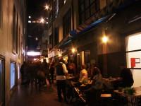 Warm colored lightings makes cozy atmosphere of narrow alleys
