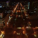TV tower_大通り公園を見下ろす。横断歩道が周囲より明るく計画されているのがわかる。