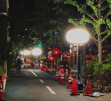 Balloon construction lighting in Tokyo